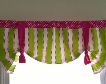 Green valance , Shaped green valance, Lime, tie up or Straight valance