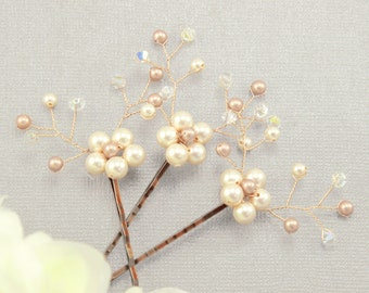 Bridal pins Wedding hairpiece Bridal bobby pins Wedding hair accessories Bridal hair piece Bridesmaids bobby pins Swarovski pearl rhinestone