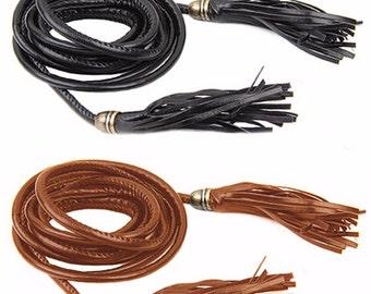 Plus Size Long Black or Tan Brown Leather Look PU Tassle Tie HIP / WAIST Belt