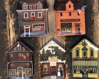 Vintage Charles Wysocki Folktown by Bradford Exchange Collectable Shop Plates 5/set