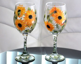 Set of 2 Hand Painted Wine Glasses Sunflowers Yellow Black Flowers Hand Painted Glassware Stemware Painted Glass Custom Personalized Wedding