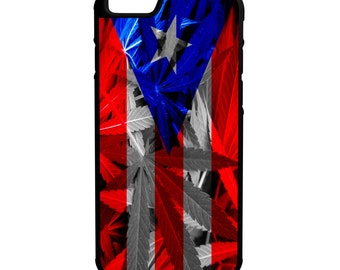 Puerto Rico Weed Flag iPhone Galaxy Note LG HTC Hybrid Rubber Protective Case
