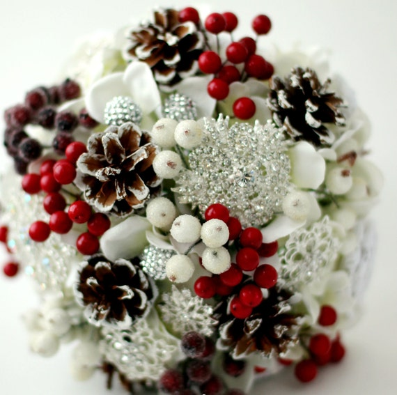 Christmas Wedding Flower Ideas: Items Similar To Winter Brooch Bouquet Cones Berries