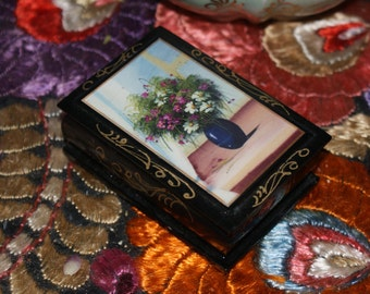 Pretty Black Lacquer Russian Hand Painted Box