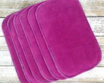 Set of 6 raspberry premium cotton velour/ bamboo terry cloth wipes