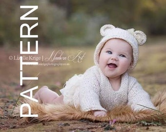 Baby Bear Hoodie Pattern - 0-6 months hoodie pattern - Baby sweater pattern - newborn jersey pattern - knitting pattern - prop pattern