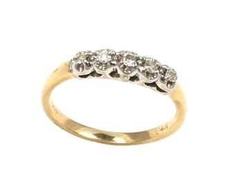 Five Diamond Crown Ring in 14k Yellow Ring - 6 1/4 US