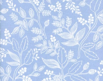 SALE Les Fleurs - Queen Anne Pale Blue - Rifle Paper Co - Cotton and Steel (8005-01)