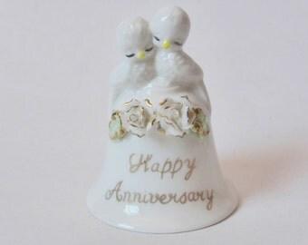 Vintage Anniversary China Bell ~ Wedding Anniversary Gift ~ Vintage Decor ~ Kitsch Decor ~ Happy Anniversary