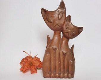 Vintage Hand Carved Kitsch Cats Figurine ~ Wooden ~ Vintage Decor ~ Tiki Bar ~ Cat Pair Sculpture ~ Love Cats ~ Rustic Retro Decor ~ 1970s