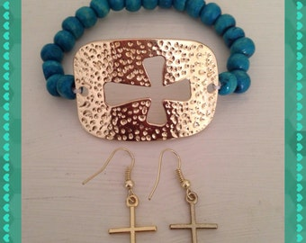 Golden Bangle Cross & Earrings