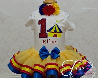 Circus First Birthday Outfit, Girls First Birthday Tutu, Girls Circus Birthday Outfit, Carnival Tutu Outfit, Circus Birthday Dress, Circus