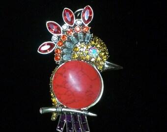 Rhinestone and Cabochon Vintage Bird Brooch
