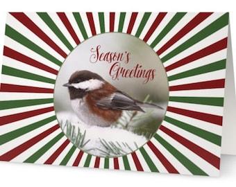 Christmas Cards Set, Bird Christmas Cards, Chickadees, Seasons Greetings, Christmas Card Pack, Birds in Snow,Cute Christmas Cards,Xmas Cards