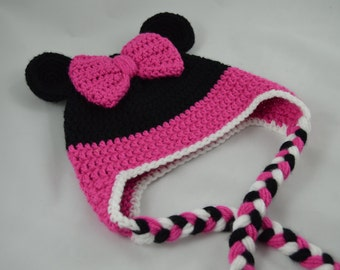 Minnie Mouse Crochet Earflap Hat