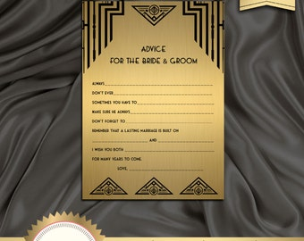 INSTANT Download - Printable Bridal Shower Game, Advice for the Bride - Great Gatsby, Art Deco, Roaring 20's, Black and Gold - Digital File