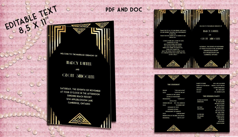 Printable Wedding Program Template Great Gatsby Style Art