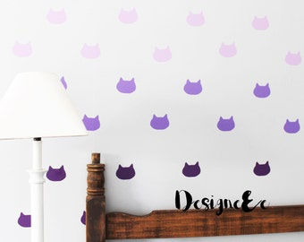 Wall Stickers - Kitty Face Ombre - Set of 36