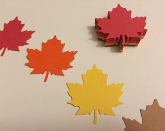 60 Die Cut Maple Leaves-15 of each color