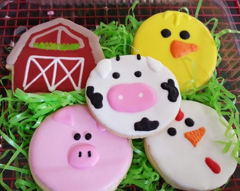 12 sugar cookies : farm animals