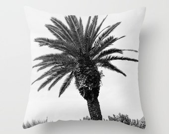Velveteen Pillow, Palm Tree Pillow, Italy Pillow, Bellagio, Italy, Palm Tree Decor, Teen Pillow, Girls Pillow, Dorm Pillow, Black and White