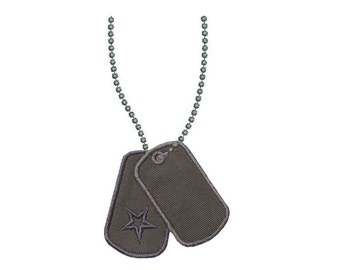 Dog Tags Applique Machine Embroidery Design Military Name Tags