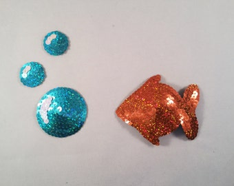 Sequin Covered Goldfish and Bubble Shaped Nipple Pasties. Novelty Pasties.