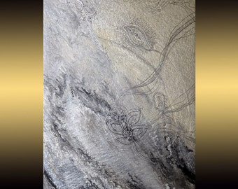 Silver White Painting | Original Art | Acrylic Painting Canvas | ABSTRACT Painting Swarovski | Contemporary Art | Painting for Living Room