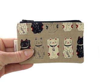 Coin Purse - Lucky Cat / Money Cat - Maneki Neko - Zipper Coin Pouch - Cute Coin Purse - Change Wallet - Zipper Bag - Beige - Card Wallet