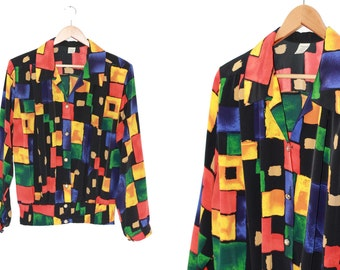 Vintage jacket shirt color block geometric print