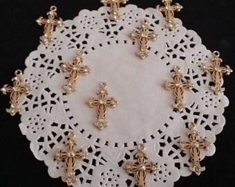 Gold Cross Pendant with Crystal Rhinestones, Gothic Rhinestone Cross, Jewelry Supplies, Gold Cross, Crosses Cross for Jewelry, Small Crosses