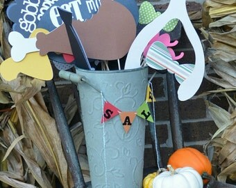 Thanksgiving photo props on sale for turkey dinner and gobble, handmade items grab a camera and smile