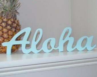 Unfinished Aloha Cursive Letters..Handmade Wooden Letters Sign..Aloha Wooden Letters..Aloha Sign Decoration..Aloha....Unfinished Aloha Sign