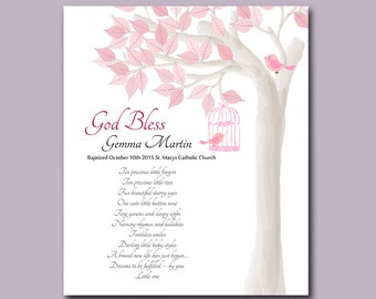 Baptism Gift from Godparents - Christening Gifts for Baby Girl - Baptism Tree - Personalized Keepsake - Gift for Godchild - Choice of Poems
