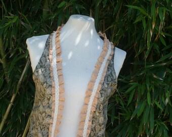 ON SALE Kaleah  paisley pixie vest with lace