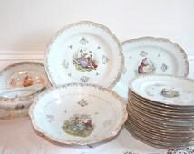 Dinnerware set, Limoges Fragonard, Dinner Plates, Dinner Plate Set, Porcelain Platter, Porcelain Plate, Limoges Platter, Limoges Plate