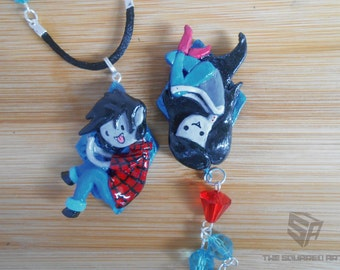 Adventure Time Charm Necklaces, Marceline The Vampire Queen and Marshall Lee The Vampire King