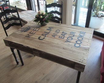 "Range table ""Kepp Calm and eat your cookie"" range furniture *."