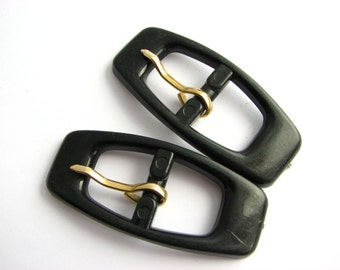 2 small black buckles, plastic belt buckles in oblong hape, unused vintage supplies!!