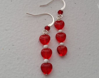 Glass Heart Shaped Beads Earrings With Silver Plated Beads. 8.5x7.5mm, Siam Ruby. Valentine's Gift. Gift for her.