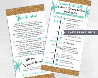 Printable Wedding Itinerary and welcome bag note, Destination Wedding day itinerary, Hotel wedding welcome schedule