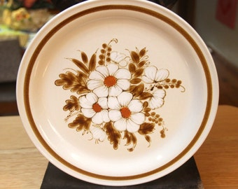 "Vintage 1970's ""Dried Flowers""  Mountainwood collection Stoneware  Dinner Plate- japan"