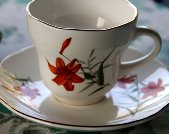 "Vintage 1950's ChinaTea cup and saucer ""Orange Tiger Lily"" design"