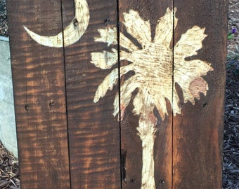 Palmetto Tree Moon SC Pallet Wood Art Reclaimed Wood Sign Pallet Decor