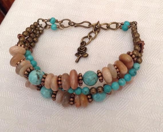 Sunstone and Magnesite Multi Strand Bracelet B6151779