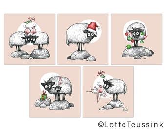 Christmas cards, set of 5 Xmas sheep illustrations, Connemara sheep drawing, Irish Christmas cards, winter Holiday cards, original Christmas