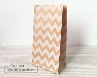 12 Kraft Paper Gift Bags with white chevron_Wedding Party Favor treat candy bags _Stand up paper bags