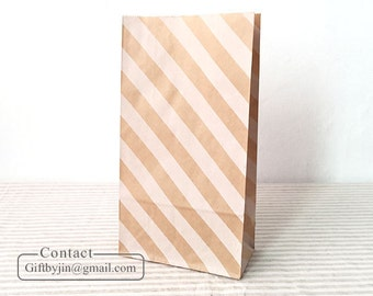 x12 Kraft Paper Gift Bags with white stripe_Wedding Party Favor treat candy bags _Stand up paper bags