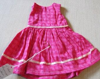 "Doll (18"") Dress  Fushia with pink ribbon"