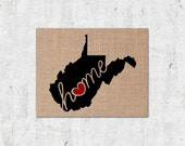 """West Virginia (WV) """"Love"""" or """"Home"""" Burlap or Canvas Paper State Silhouette Wall Art Print / Home Decor (Free Shipping)"""